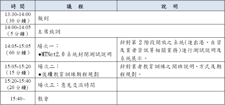 第二階段業者封測說明會時程表